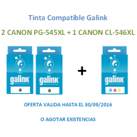 Pack 2 Uds.GALINK TINTA NEGRA CANON PG545XL-8286B001 + 1 Ud. TINTA COLOR CANON 546XL-8288B001