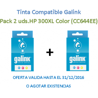 Pack 2 Uds. Tinta Galink HP 300XL Color CC644EE