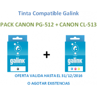 Pack Tinta Galink Canon PG-512 Negro + CL-513 Color