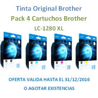 Multipack Original Brother LC1280XL Negro+Cyan+Mangenta+Amarillo