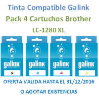 Multipack Galink Brother LC1280XL Negro+Cyan+Mangenta+Amarillo