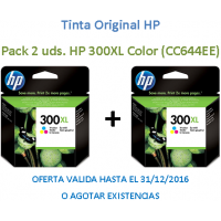 Pack 2 Uds. Tinta Original HP 300XL Color CC644EE