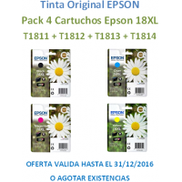Pack 4 Cartuchos Original Epson 18XL T1811+T1812+T1813+T1814